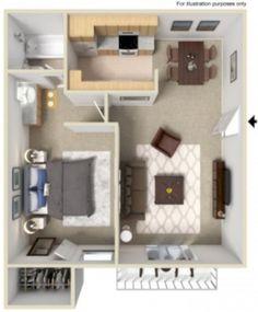 Cool one bedroom apartment plans ideas 12 - Round Decor Small Studio Apartment Design, Small Space Interior Design, Apartment Layout, Two Bedroom Apartments, One Bedroom Apartment, Small Apartments, Small House Plans, House Floor Plans, Appartement Design Studio