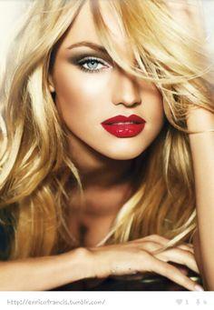 sunkissed, red lip. bronzer, subtle smokey eye
