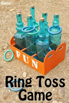 Make your own ring toss game -- a fun outdoor game that you can make for your kids. From The Country Chic Cottage Summer Activities For Kids, Games For Kids, Fun Activities, Outdoor Activities, Fun Outdoor Games, Backyard Games, Fun Crafts, Crafts For Kids, Make Your Own Ring