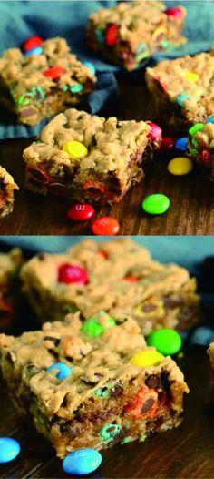 MONSTER COOKIE BARS - cake, chocolate, cookie, dessert, peanut, recipes, vanilla