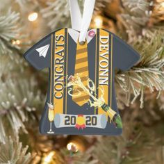 Male High School Alumni/College Graduate Ornament Holiday Cards, Christmas Cards, Christmas Ornaments, Holiday Decor, Graduation Shirts, College Graduation, How To Make Ribbon, Family Memories