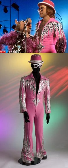 """When Elton John & Miss Piggy sang """"Don't Go Breaking My Heart"""" on The Muppet Show in 1977, Elton wore a bedazzled hot pink jumpsuit by Bob Mackie."""