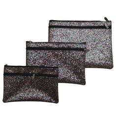 "Girly Glitter Bags - 3 in 1 The beautiful bags are super cute and come together in 3 different sizes. They nest inside each other for easy storage. You will always have the right bag to sparkle with!  New and unused. Arrived from no smoke environment.  🚫🚫TRADES🚫🚫 Price is firm unless you bundle👛👛 BAG 1. 9.5x7"" BAG 2.  8.5x6"" BAG 3. 7.5x5"" Bags"
