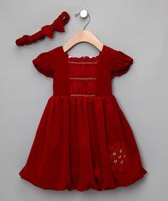Little Bitty Red Velour Dress & Headband - Zulily Fall essentials... Love it