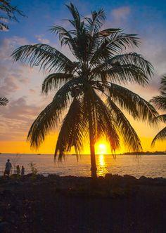 Sunset Near the Rocks of Hawaii