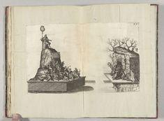 Anonymous | Toneel met Apollo en de muzen op de Parnassus, 1582, Anonymous, 1582 | Toneel met Apollo en de muzen op de Parnassus, in de Hoogstraat. Op de Vlasmarkt vluchten op een tweede toneel de furiën in een grot. Plaat XX in de beschrijving van de intocht van de hertog van Anjou te Antwerpen, 19 februari 1582. Deze voorstelling uitgevoerd op 22 februari als de hertog van Anjou de eed aflegt op het Stadhuis.