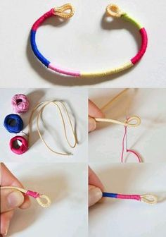 crafts with yarn diy / crafts with yarn . crafts with yarn for kids . crafts with yarn easy . crafts with yarn diy . crafts with yarn for kids easy . crafts with yarn project ideas . crafts with yarn to sell Yarn Bracelets, Trendy Bracelets, Bracelet Crafts, Jewelry Crafts, Handmade Jewelry, Shoelace Bracelet, String Bracelets, Braided Bracelets, Jewelry Ideas