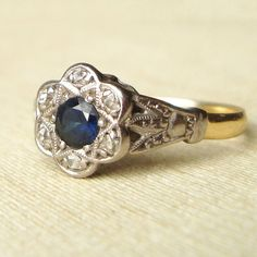 Antique Diamond and Sapphire Flower Engagement Ring by luxedeluxe, $585.00