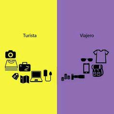 Diferencia entre turista y viajero.