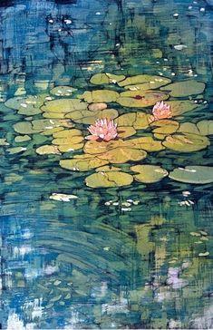 Water Lilies Original Fine Art Batik by Terri Haugen Art on Etsy Landscape Quilts, Landscape Art, Art Aquarelle, Watercolor Paintings, Gravure Illustration, Lily Painting, Water Lilies Painting, Batik Art, Fabric Art
