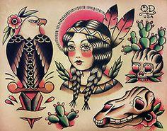 squaw & cactus tattoos, via Tumblr