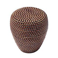 Stilvoller Beistelltisch PEARLS 50 Cm Kupfer Ethno Hocker Couchtisch Wohnzimmertisch Metalltisch Handarbeit Handgefertigt Vintage Shabby Metallkorb