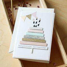 Kartka urodzinowa www.decobazaar.com/anamaj Creative Birthday Cards, Cute Birthday Cards, Homemade Birthday Cards, Bday Cards, Diy Birthday, Homemade Cards, Creative Cards, Watercolor Birthday Cards, Birthday Card Drawing