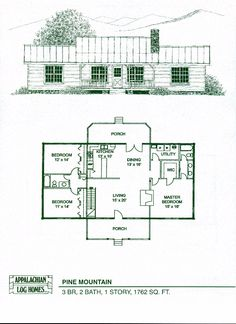 Pine Mountain - 3 Bed, 2 Bath, 1 Story, 1762 sq. ft., Appalachian Log & Timber Homes, Hybrid Home Floor Plan