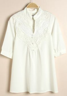 White Plain Lace Pleated Band Collar Elbow Sleeve Chiffon Blouse