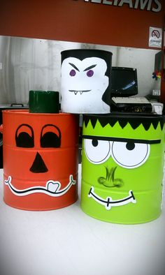 Want to know what to do with old paint cans?    I decorated these empty cans and made Halloween Decorations out of them :)