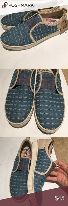 Born denim slip on loafers new Only used as store displays, tag still attached. Super cute, born denim slip on loafers. True to size Born Shoes Flats & Loafers