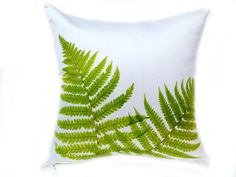 Leaf Pillow Cover Fern Pillow 18x18 Pillow by SomethingInTheBox