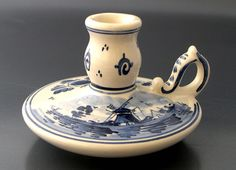 Vintage Delft Blue White Pottery Candle Holder