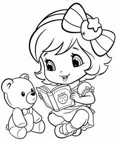 Baby Strawberry Shortcake Reading to teddy bear
