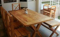 ALC RÚSTICOS : Conjunto de mesa bancos e cadeiras