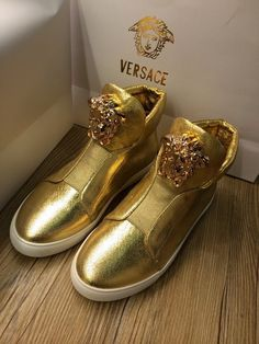 Gold Snakehead Medusa logo Versace shoes High top Men women original 70%off