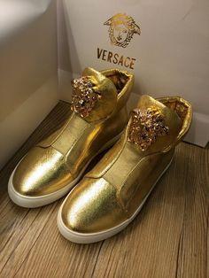 Gold Snakehead Medusa logo Versace shoes High top Men women original 70%off