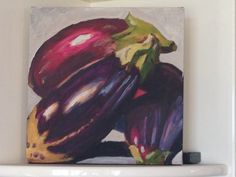 Three Eggplants (acrylic) by Charmaine Lim