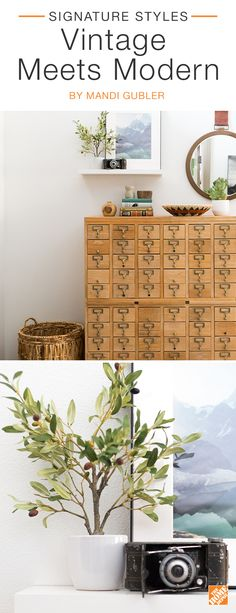 Create balance in any space by mixing vintage pieces and new, modern decor. Instantly add personality by finding a vintage showstopper, like this card catalog, and styling it with contemporary decor and greenery. A round iron-framed mirror, rustic basket, and faux olive tree are the perfect complements. We partnered with blogger Mandi Gubler to create this stylish entryway.  Click to explore her selected products.