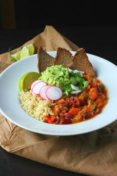 Spring Chili & Quinoa Bowls with Seeded Buckwheat Crisps | happy hearted kitchen
