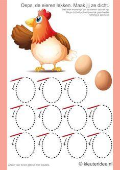 Napísať Pattern slepačie vajcia, kleuteridee.nl, jarné tému, bezplatné vytlačiť.