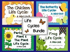 Life cycles bundle!  8 weeks of science lessons, integrated with literacy.  Tons of posters, printables, literacy centers, math centers, and guided reading books. $