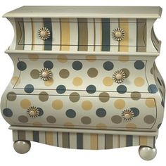 Victoria Chest - Like the idea for painting a dresser with stripes and polka dots.