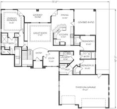** 12/27/17** Traditional Style House Plan - 5 Beds 3.00 Baths 3382 Sq/Ft Plan #24-202 Floor Plan - Main Floor Plan - Houseplans.com Traditional House Plans, Traditional Design, Barbie Dream House, Traditional Bathroom, Great Rooms, Square Feet, Floor Plans, Flooring, How To Plan