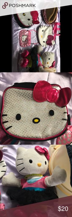 Huge 5 pc Hello Kitty lot take all seen one price Lunch box Lk new cond no smells no stains  Dancing hello kitty window cling  Change or coin keeper  Crossbody style purse Kids sz hat hello kitty Hello Kitty Accessories