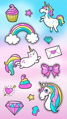 Cute Wallpaper Iphone Home Screen Kawaii Unicorn Cute Unicorn, Rainbow Unicorn, Unicorn Horse, Unicorn Art, Images Kawaii, Unicorn Wallpaper Cute, Unicornios Wallpaper, Cupcakes Wallpaper, Wallpaper Ideas