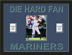 One framed 8 x 10 inch Seattle Mariners photo of Justin  Smoak with one team/player card* opening on each side, double matted in team colors to 24 x 18 inches.  DIE HARD FAN** and MARINERS*** are cut into the top mat and show the bottom mat color.  $109.99 @ ArtandMore.com