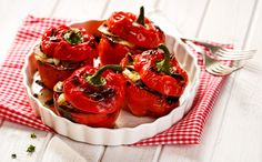 Vegetarian Stuffed Peppers-very delicious vegetable appetizer that can be used as a garnish for meat recipes, or as a separate dish. Vegetable Appetizers, Vegetable Recipes, Meat Recipes, Vegetarian Stuffed Peppers, Bruschetta, Junk Food, Dishes, Vegetables, Cooking