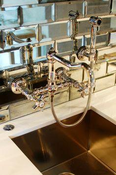 Mirrored subway tile in wet bar/butler's pantry! Oh right, my butler's pantry! Mirror Tiles, Beveled Mirror, Mirror Bathroom, Mirror Backsplash, Mirrored Subway Tiles, Beveled Glass, Mirrored Walls, Glam Mirror, Splashback Tiles