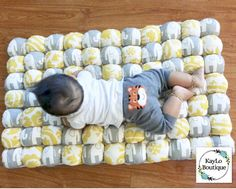 Items similar to Unisex Neutral Color Yellow & Grey Elephants Baby Biscuit Quilt Puff Bubble Play Mat Blanket backed with White Dot Minky on Etsy Biscuit Quilt, Bubble Play, Puff Quilt, Grey Elephant, Baby Crafts, Color Yellow, Neutral Colors, Elephants, Baby Shower Gifts