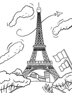printable eiffel tower coloring page free pdf download at httpcoloringcafe - France Eiffel Tower Coloring Page