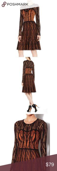 """BCBG MazAzria Kayla Chevron Jacquard Dress BCBGMAXAZRIA Kayla Chevron Jacquard Dress. New with Tag.  A soft knit dress. Round neck. Long sleeves. Classic fit. Chevron jacquard knit. A-line skirt. Measures approximately 38.5"""" From shoulder to hem. Silk, cotton. Size Small BCBG Dresses Long Sleeve"""