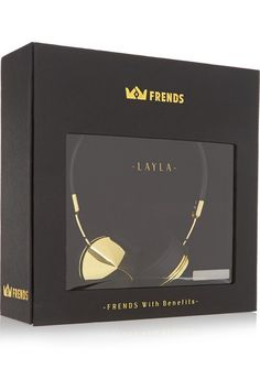 Frends' 'Layla' headphones are handcrafted from supple black leather and have gold-tone caps and comfortable memory foam ear cushions. They are tuned for optimum clarity with a three-button mic control, and neatly fold away into a soft carry case. Shop it now at NET-A-PORTER.COM #Frends