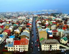 bird's eye view of Reykjavik, the capital of Iceland,