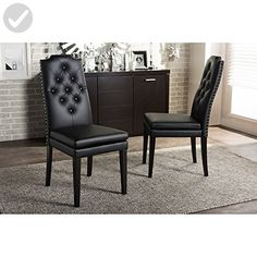 Baxton Studio Dylin Modern & Contemporary Faux Leather Button Tufted Nailheads Trim Dining Chair (Set of 2), Black - Improve your home (*Amazon Partner-Link)