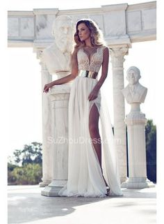 beads top and see-through bottom design. Love the gold belt and side slit. Gorgeous