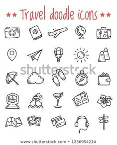 Travel Doodle Icons Stock Vector (Royalty Free) 1236954214 : Find Travel Doodle Icons stock images in HD and millions of other royalty free stock photos, illustrations and vectors in the Shutterstock collection. Thousands of new, high quality pictures add Bullet Journal Voyage, Bullet Journal Travel, Bullet Journal Icons, Travel Journal Scrapbook, Travel Journals, Travel Books, Travel Doodles, Travel Clipart, Sketch Note