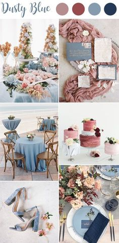 Navy, Dusty Rose, & Dusty Blue…color palette ideas & wedding inspirations Marine, staubige Rose u. Staubiges Blau… Farbpalettenideen u. Hochzeitsinspirationen All things weddings Dusty Rose Wedding, Dusty Blue Weddings, Wedding Blue, Spring Weddings, Navy Spring Wedding, Wedding Summer, Trendy Wedding, Boho Wedding, Wedding Country
