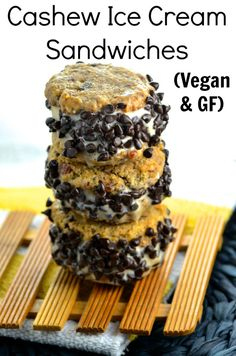 Vegan Cashew Ice Cream Sandwiches - nothing better than a delicious  vegan cashew ice cream sandwiched between two vegan chocolate chip cookies.  The perfect midnight snack and dessert. #vegan #glutenFree #dessert #dairyFree #iceCream #sandwiches #kosher