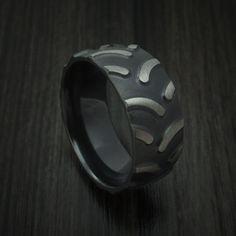 Black Zirconium Tractor Tire Tread Ring Custom Made Band